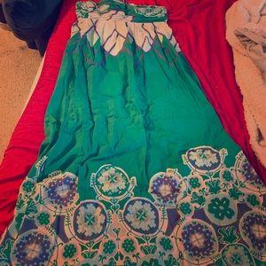 Anthropology strapless full length pattern dress